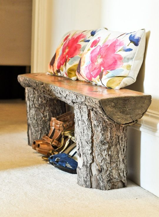 Tree stump bench... so cute for a sun room! Would be beautiful with beveled glass top.