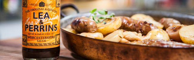 Sausage Cider and Pearl Onion Casserole (Lea & Perrins) recipe