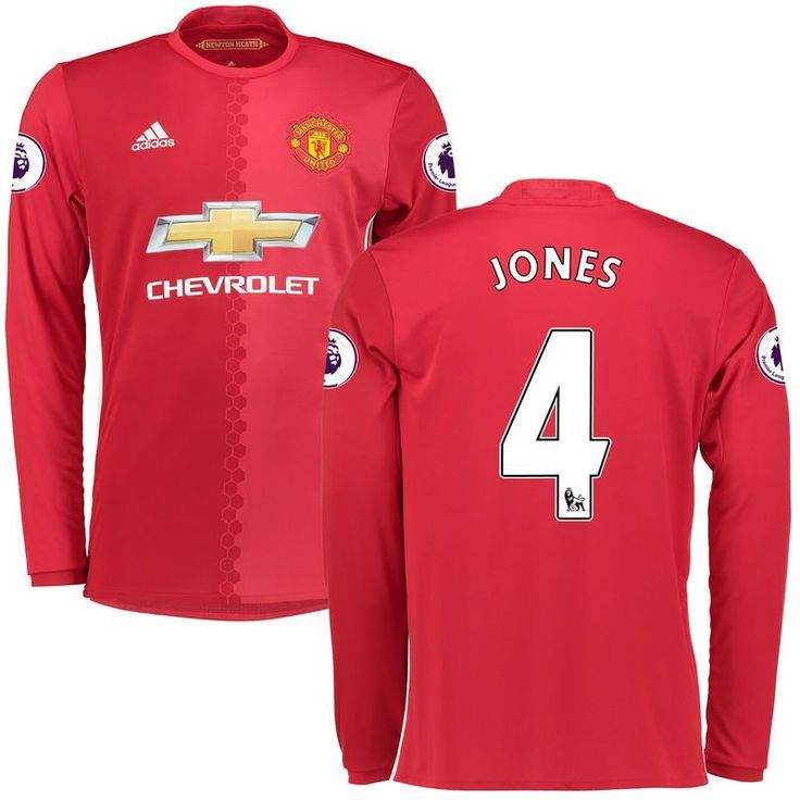 Phil Jones Manchester United adidas 2016/17 Replica Home Long Sleeve Jersey - Red   Manchester ...