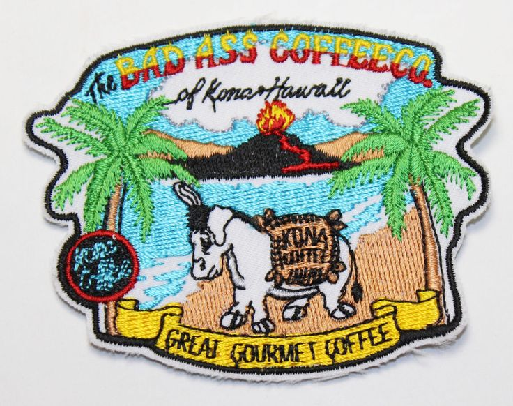 The Bad Ass Coffee Co of Kona Hawaii Gourmet Coffee Embroidered Patch Donkey