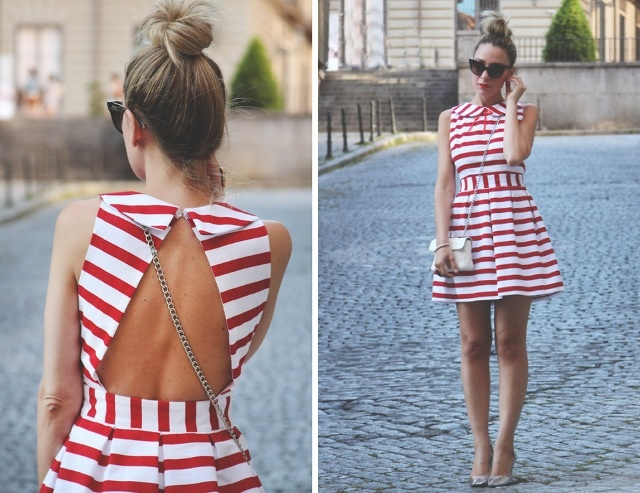 Image result for red and white stripe 4mm dress