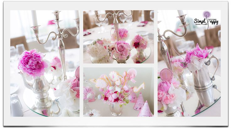 Silver and flowers Christening Party Decor www.simplyhappy.ro www.facebook.com/faitamain
