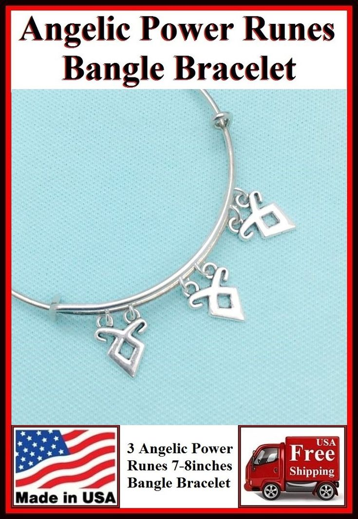 3 Angelic Power Runes Charms Expendable Bangle.