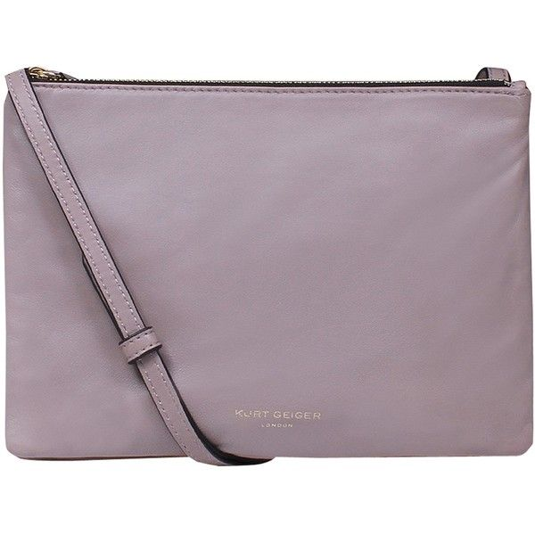 Kurt Geiger Pisces Leather Pouch Clutch Bag ($75) ❤ liked on Polyvore featuring bags, handbags, clutches, lambskin nude, hand bags, purple leather handbag, purple purse, leather man bags and nude clutches