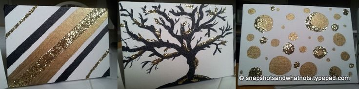 53 best images about glitter art on pinterest image for Diy canvas art black and white