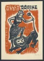 Johann Naha (1902-1982): Ex libris Helga Madis. Színes fametszet, papír, jelzett, 9×6 cm