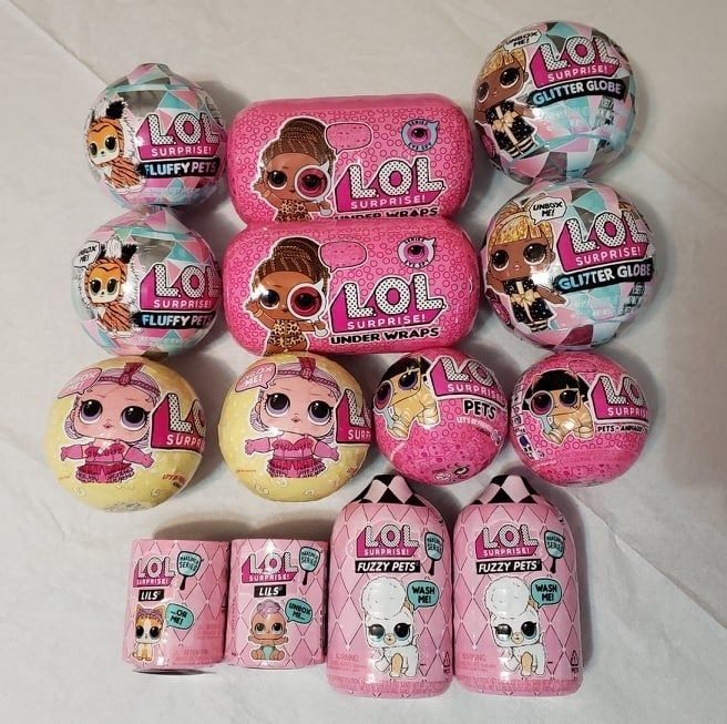 14 New Sealed Lol Surprise Dolls Includes 2 Under Wraps 2 Fuzzy Pets 2 Lils 2 Eye Spy Pets 2 Lol Series 3 2 Fluffy Pets Winter Di Cool Toys Lol Glitter Globes