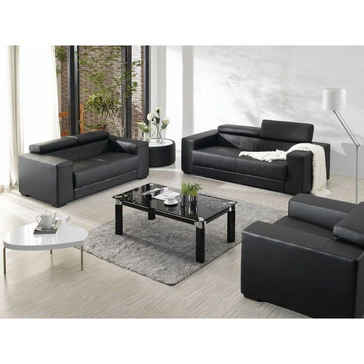black leather living room furniture sets%0A Divani Casa       Modern Bonded Leather Sofa Set