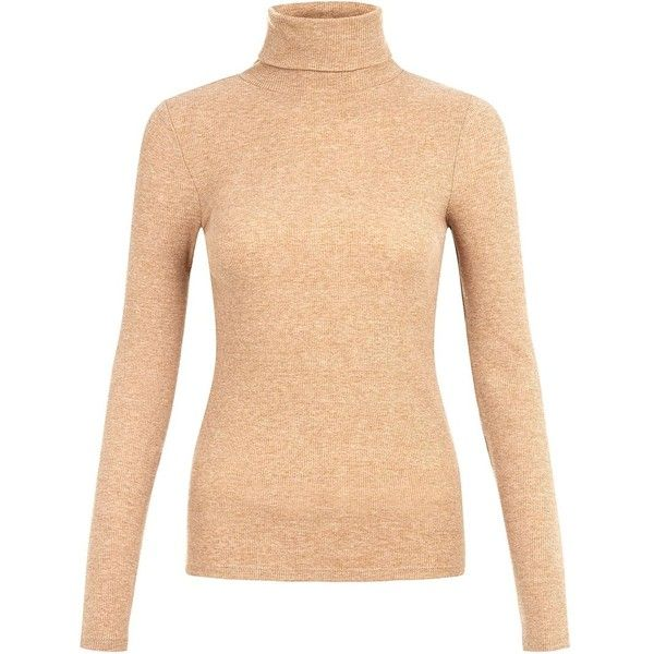 Camel Ribbed High Neck Top ($14) ❤ liked on Polyvore featuring tops, sweaters, camel, long sleeve tops, ribbed top, long sleeve sweaters, camel top and rib sweater