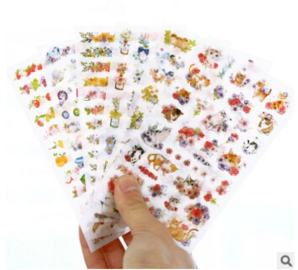 6Pcs/set Cute Cats Flowers Animals Sticker PVC Cartoon Diary Sticker Scrapbook Decoration Stationery Stickers H1369 #Affiliate