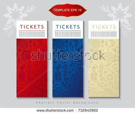 Football 2018 Russia World Cup Abstract football tournament tickets template background, dynamic texture modern concept red, blue, beige color banners set Vector world cup competition. Championship soccer wallpaper, coupon, voucher, Russian folk art decorative elements pattern.