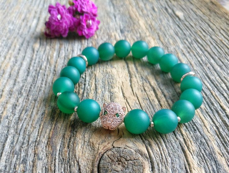 Green agate bracelet with rose gold leopard charm ✨