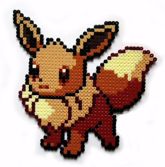 Pokemon Eevee perler bead sprite by AenysBeadArt on Etsy, €5.00