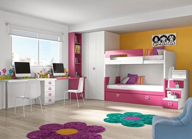 Habitaci n juvenil en blanco veta con detalles en fucsia for Literas originales para un cuarto juvenil