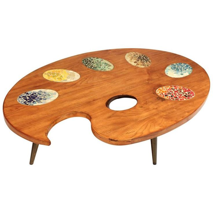 Unique Oversize Artist Palette Coffee Table, Wood and Mosaic Tile, 1960s, USA  #interiordesign #luxurydesign #luxuryfurniture #coffeetables #luxuriousdiningtables #tables #bocadolobo #famousbrands #living room #thelivingroom #sittingroom #exclusivedesign #interiodesigners #designideas #luxurybrands #expensivebrands #luxuriouslifestyle #projectsandinteriors #interiors #thecoffeetable #moderncoffeetables #famouscoffeetables #expensivecoffeetables #centertables #moderncentertables…