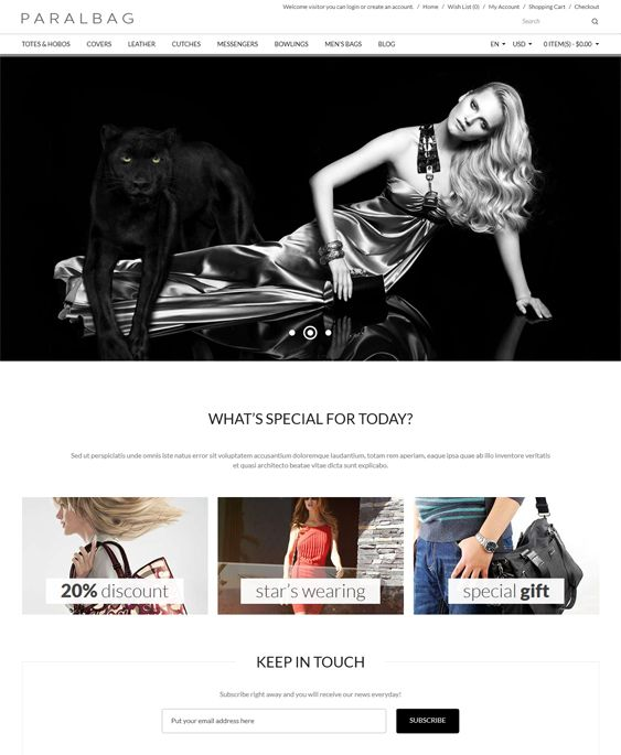 This parallax PrestaShop theme offers a minimal design, a responsive layout, a mega menu, Revolution Slider, product filtering, static block and blog modules, social media integration, cross-browser compatibility, and more.