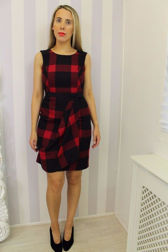 Hobbs Red Tartan Check Wool Winter Scottish Burns Night Edinburgh Tattoo Outfit Galaxy Pencil Dress 8