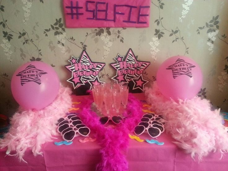 #selfie zone perfect for an 11 year olds tween party. Teemed with pink champagne and the #selfie song kept 11 girls beeming throughout the eve and night and morning (6 slept)
