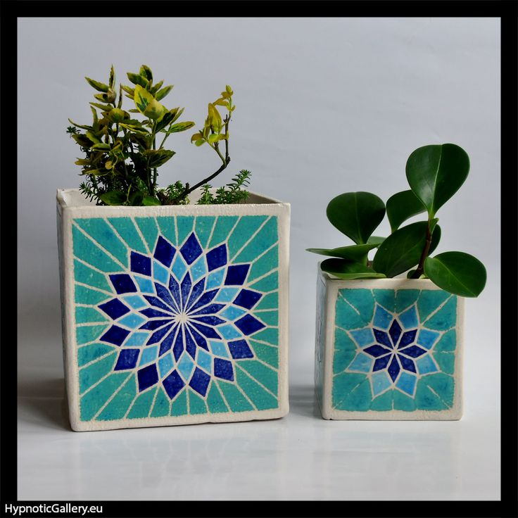 Planters cubes in turquoise, and blues.