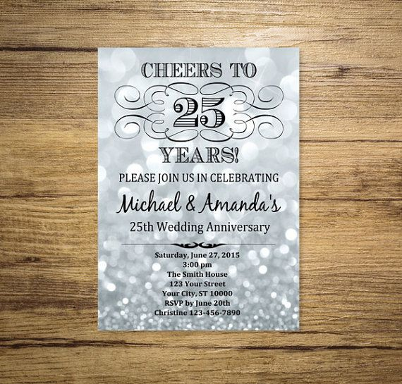 Silver Wedding Anniversary Invitation, Silver Bokeh 25th Anniversary Invitation…