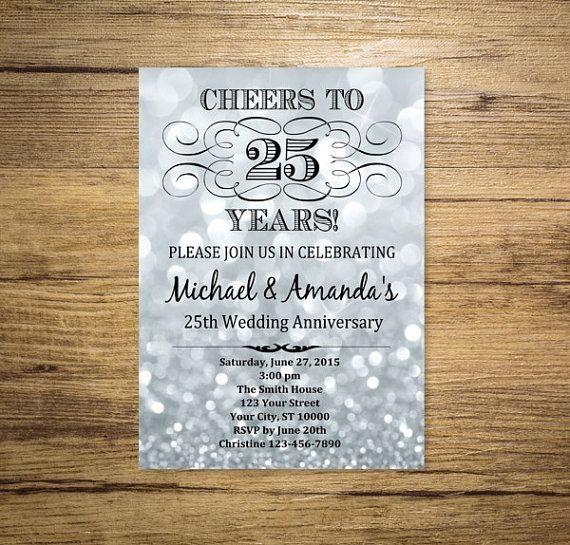Silver Wedding Anniversary Invitation, Silver Bokeh 25th Anniversary Invitation…