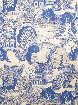 Osborne & Little: Summer Palace A chinoiserie landscape, reminiscent of willow pattern porcelain, also dates from Osborne & Little's earliest collections of hand prints.
