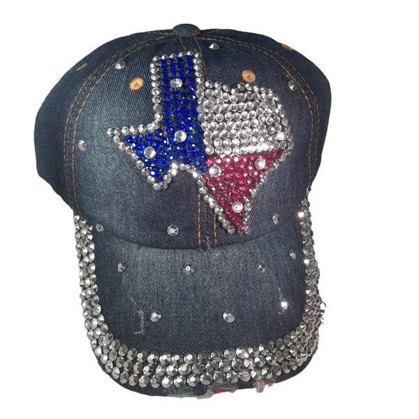 """FREE SHIPPING! Show your true colors with this state of Texas bling embellished baseball cap! 4.5"""" by 4.5"""" Texas map applique made of sparkling red, white, and"""