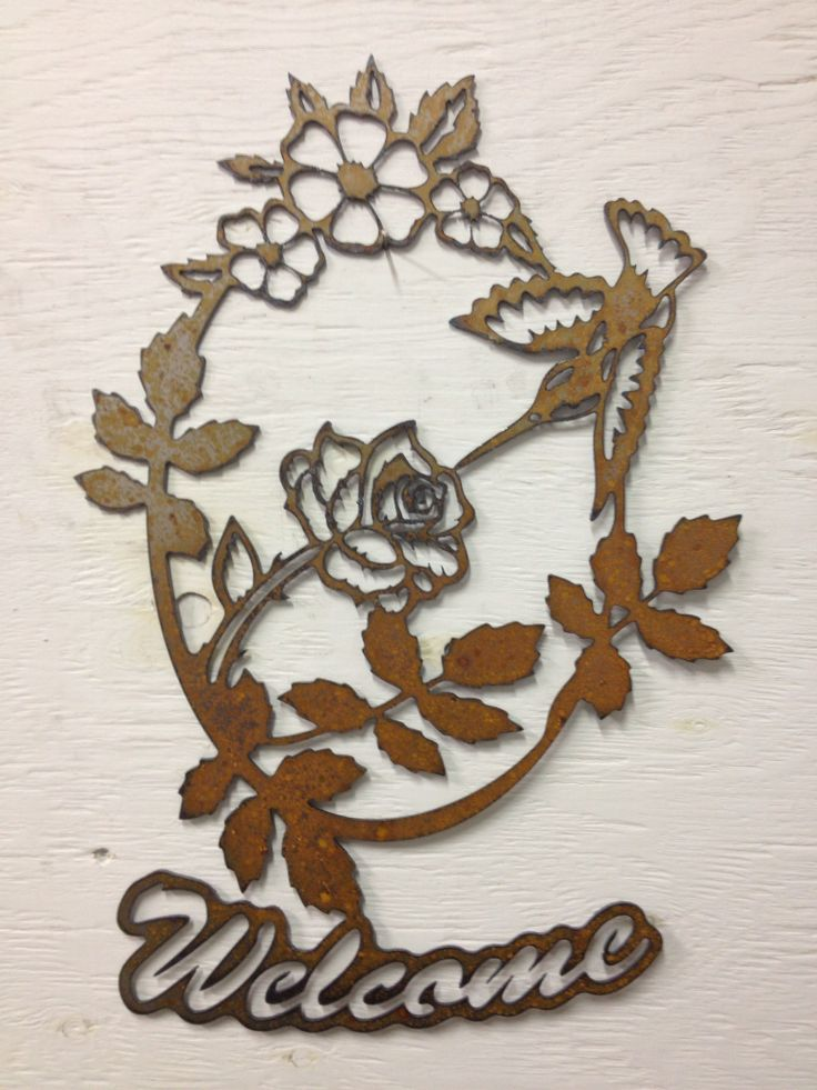 Hummingbird Welcome Sign, yard art, roses, metal signs, Metal Hummingbird, Rose and Hummingbird,