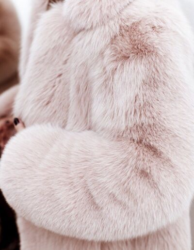 Pink pur coat. This screams fall chic.