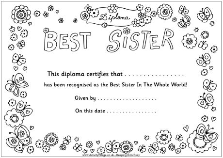 best sister diploma