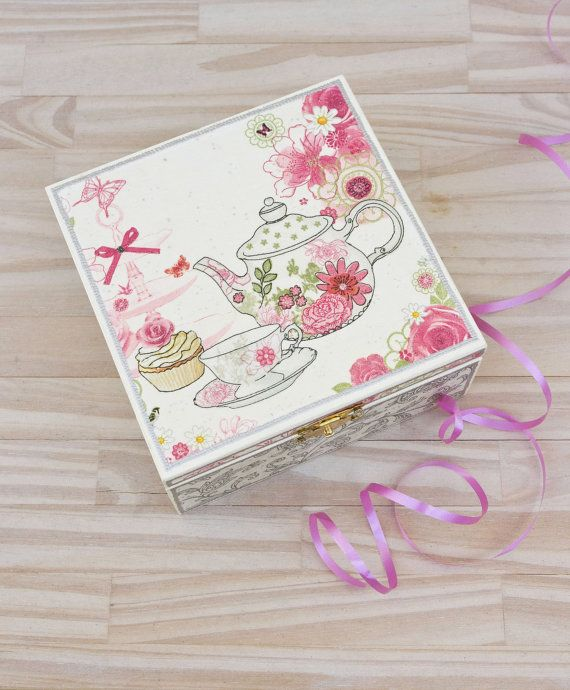 Decoupaged tea box  Easter gifts  Gift ideas  Kitchen by LekaArt