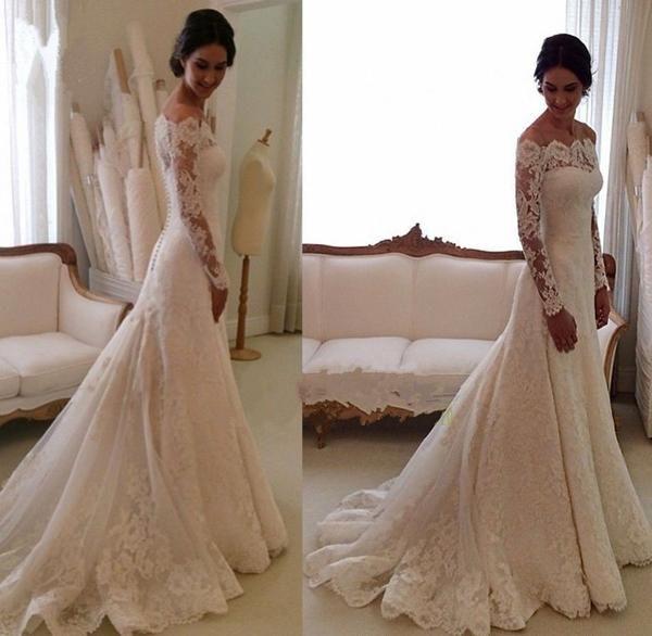 8f95509c5 Cheap Ivory Vintage Long Sleeves Wedding Dresses