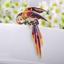 Красивый Красный Птицы Брошь Pin Прекрасный Эмаль Броши женщины Подарок На День Рождения Брошь Золотые Броши Pins Брохес Хиджаб Женщин Аксессуары(China (Mainland))