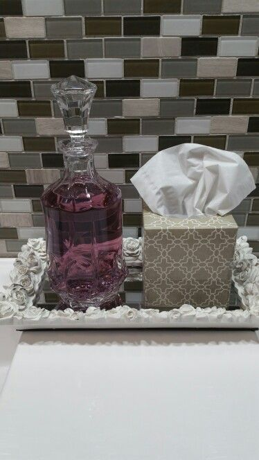 Inexpensive upgrade to your bathroom! Crystal decanter with mouthwash...
