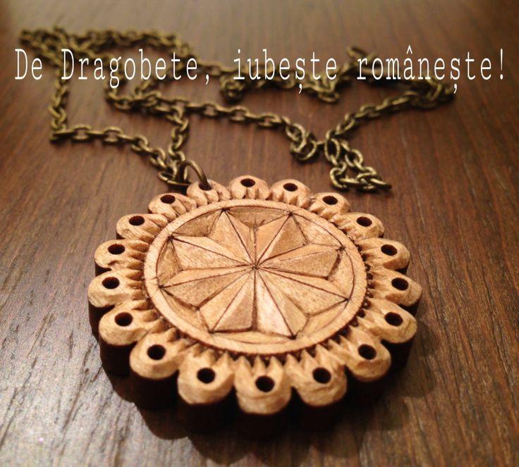 De Dragobete, iubeste romaneste! - maple wood pendant - Handmade by Dani Danciu