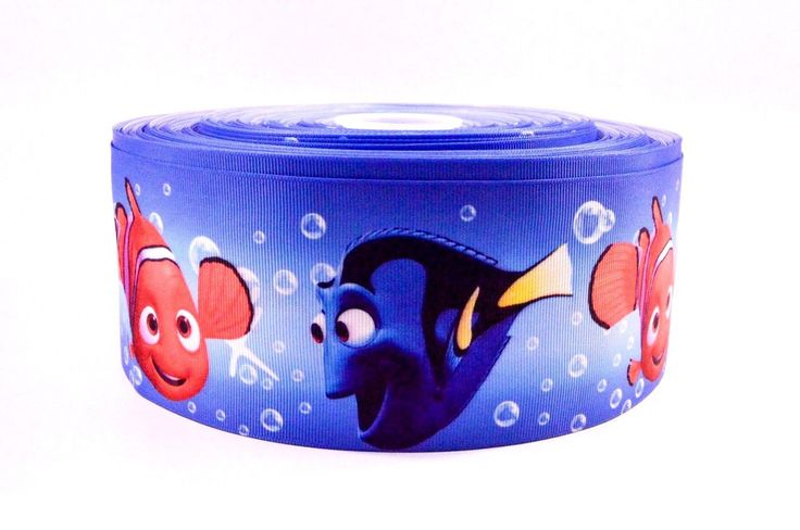 "3"" Wide Dory and Nemo Printed on Grosgrain Cheer Bow Ribbon"