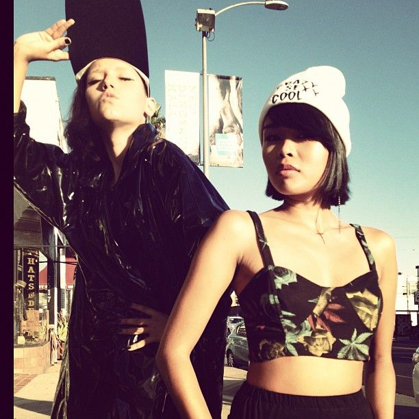 Dimepiece top, Vintage Black Jacket & our very own Clumsy Cat 'crazy, sexy, cool' beanie!!