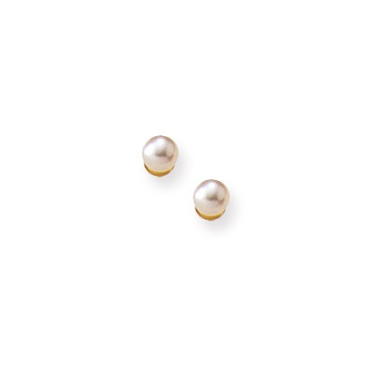 BeadifulBABY :: Little Girls Pearl Jewelry by My First Pearls® - Pearl Earrings for Girls - Freshwater Cultured Pearl 14k Yellow Gold Screw Back Earrings for Baby Girls (3mm pearl)