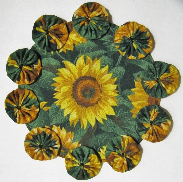 Yellow Sunflowers Table Centerpiece Summer YoYo Candle Mat Flower Garden Doily #Handmade