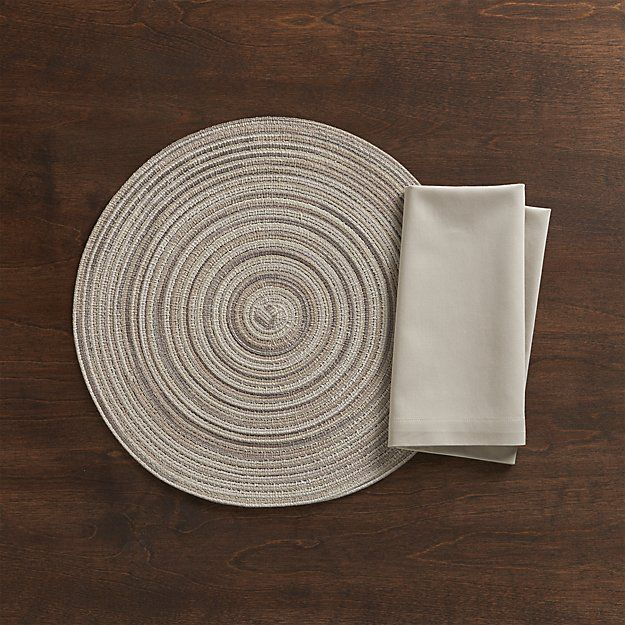 Stria Neutral Placemat and Fete Dove Napkin | Crate and Barrel