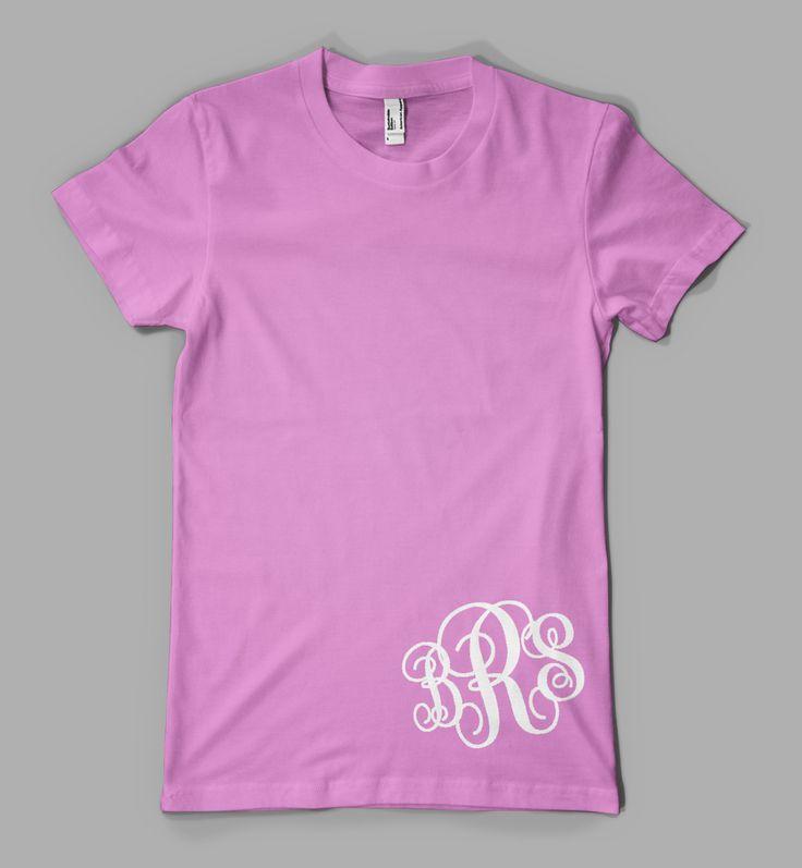 Decals That Dazzle - Custom Monogram Tee - Ladies Monogrammed Initials Personalized T-Shirt - Bottom Print, $15.00
