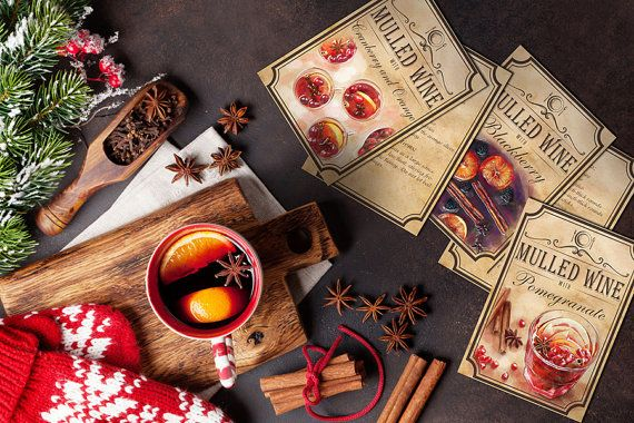 5 recipes for mulled wine digital by BlueberryDreamDesign on Etsy