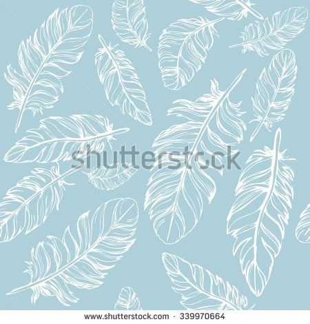 Seamless background with beautiful feathers of a bird. Repeating texture. Fabric design, background, wallpaper. Boho Style - stock vector