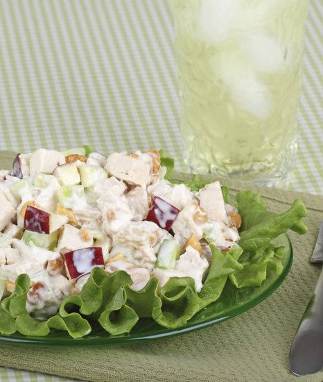 Healthy Chicken salad 1 1/4 cup plain, nonfat yougurt 1/2 cup grapes (cut in half) 1/2 cup apple (chopped) 1/2 cup chopped walnuts or almonds 2 cups cooked, chopped chicken mix yogurt, grapes, apples and nuts. combine chicken and yogurt mixture and place on top of salad