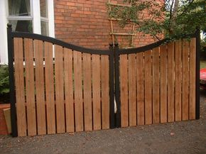 Wooden gate for driveway.