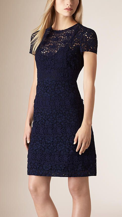 Burberry Navy Fitted Floral Lace Dress