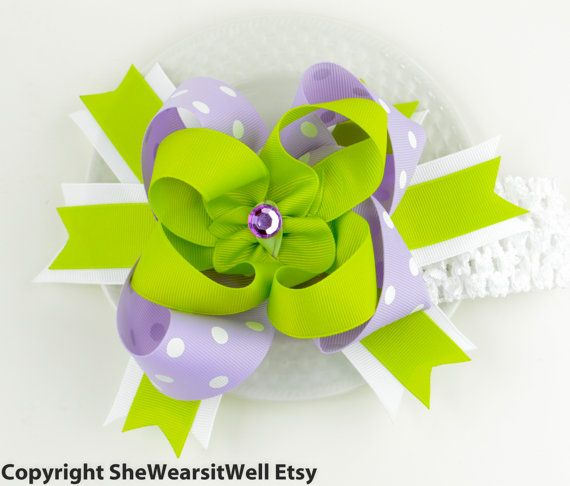 Hair Bow for Girls Big Hair Bow Purple and Green by SheWearsitWell, $14.99