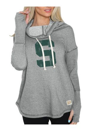Original Retro Brand Michigan State Spartans Womens Grey Funnel Neck Hoodie