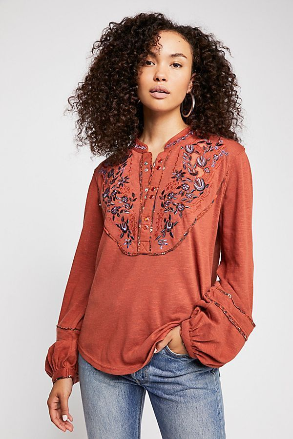 5b3a10252b16f 4036 New Free People Sundance Kid Henley Floral Embroidered Brick Blouse  Top XS  fashion  clothing  shoes  accessories  womensclothing  tops (ebay  link)