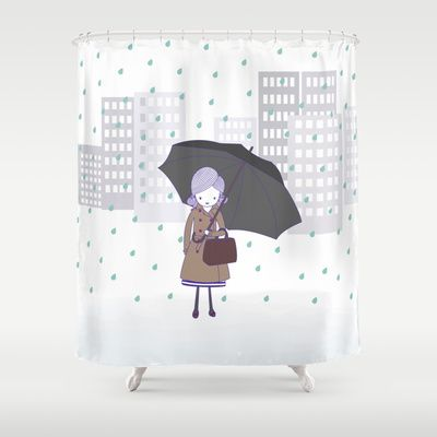 Girl+in+the+rain+Shower+Curtain+by+radis+-+$68.00